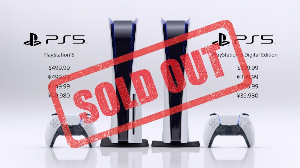 A photo of the PS5 with a large SOLD OUT sticker.