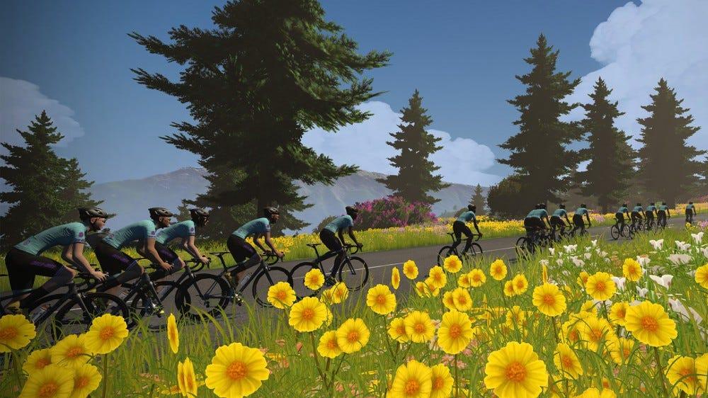 A screenshot from the Virtual Tour de France on Zwift