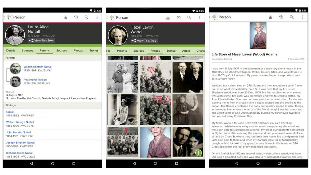 FamilySearch Tree mobile genealogy app screenshots free genealogy app