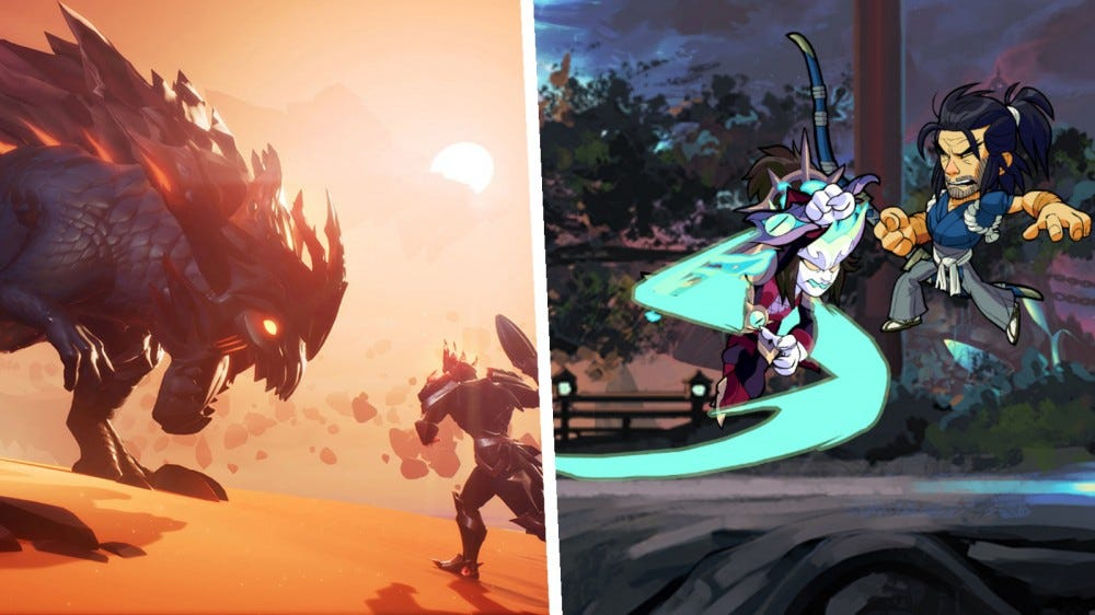Screenshots of Dauntless and Brawlhalla in a collage.