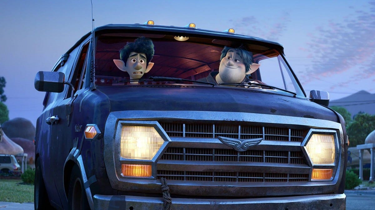 "Ian and Barley Lightfoot from the movie ""Onward"" in a van."