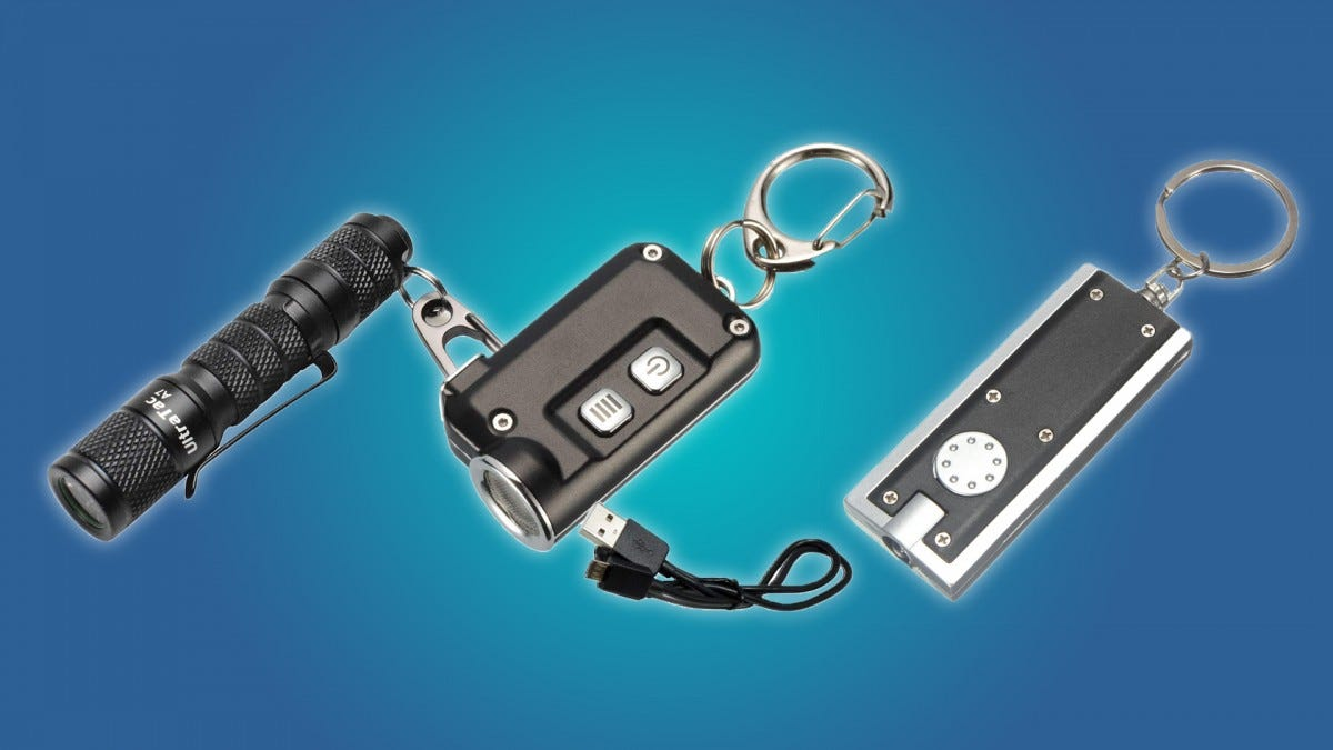 The Aidier, Nitecore, and Mecco keychain flashlights.