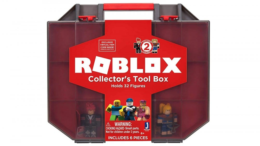 "The ""Roblox"" Collector's Tool Box with two figures inside."