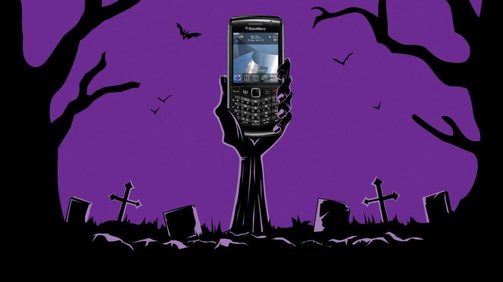 Blackberry rises from the grave (illustration)