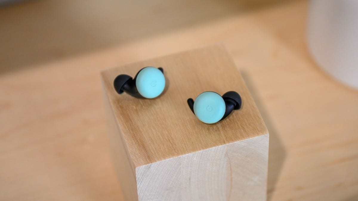 Google Pixel Buds in the Mint colorway