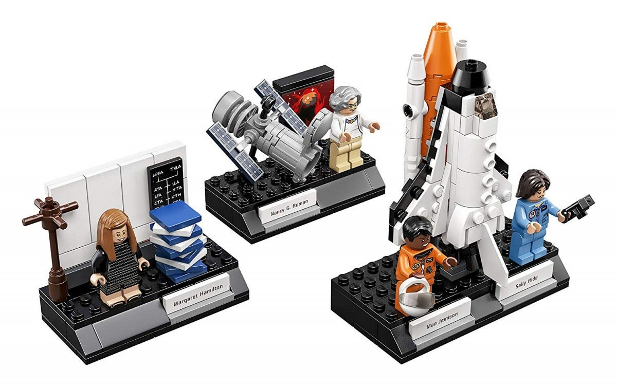 LEGO Women of NASA set, with three scenes.