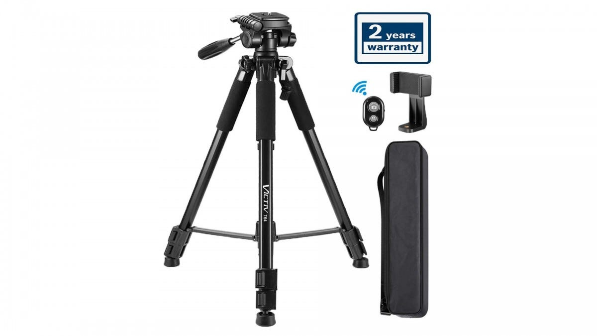 The Victiv tripod with a phone adapter.