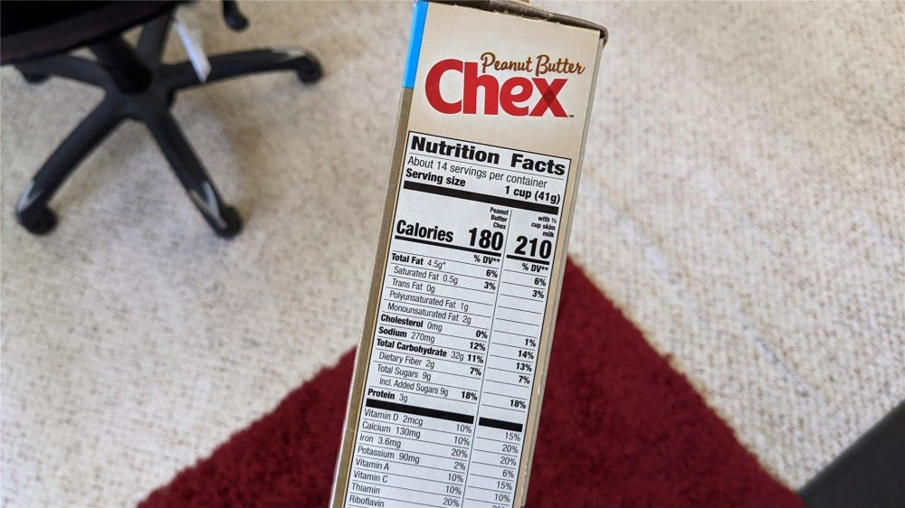 A picture of the nutritional information from Peanut Butter Chex