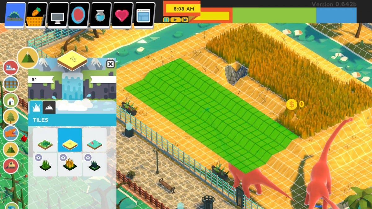 Parkasaurus's grid-based building system.