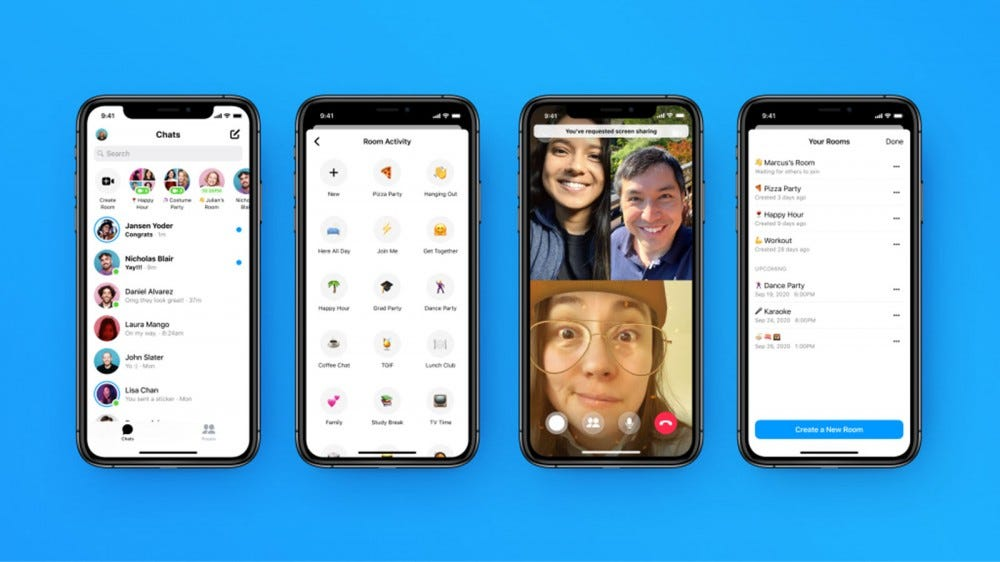 Messenger on an iPhone with new Rooms chat options.