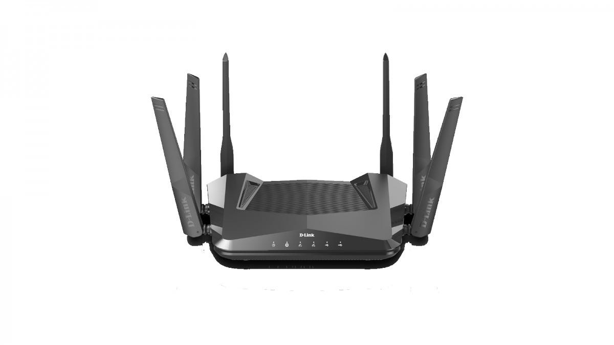A black D-Link router with 6 antennas.