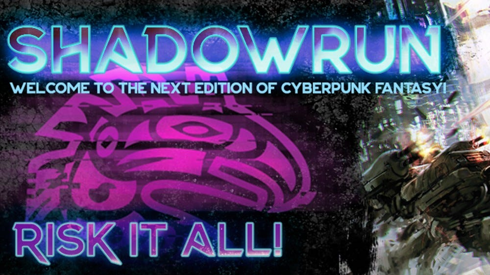 Shadowrun cyberpunk style art with neon lights on a dark background