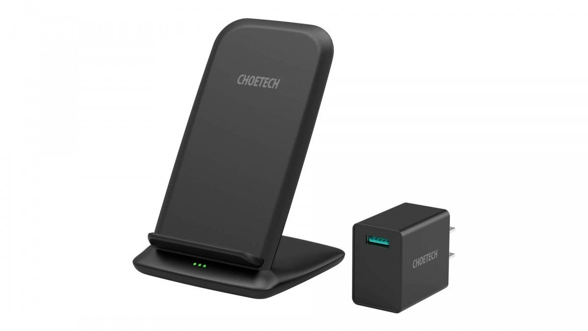 CHOETECH 15W Wireless Charger iPhone SE//XS Max//XR,LG V30//V35//V40//G8,Galaxy Note 10//S20//S20+//S10//S10E Fast Wireless Charging Stand with QC 3.0 Adapter Compatible iPhone 11//11 Pro//11 Pro Max Pixel 3