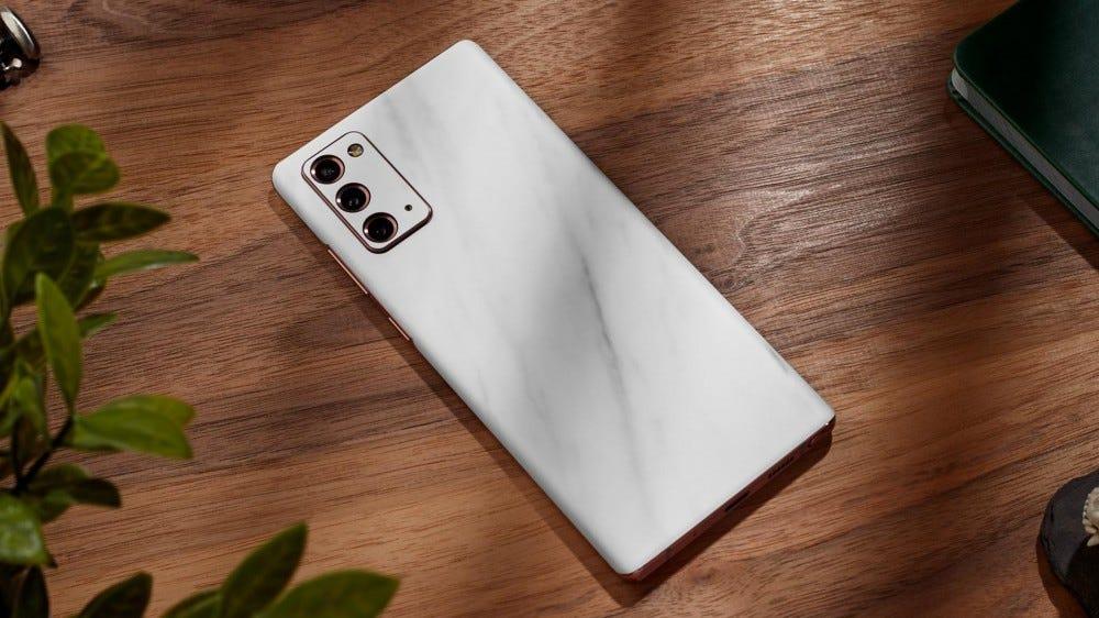 A Galaxy Note20 Ultra in a dbrand skin.
