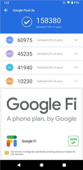 Google Pixel 3a Antutu score