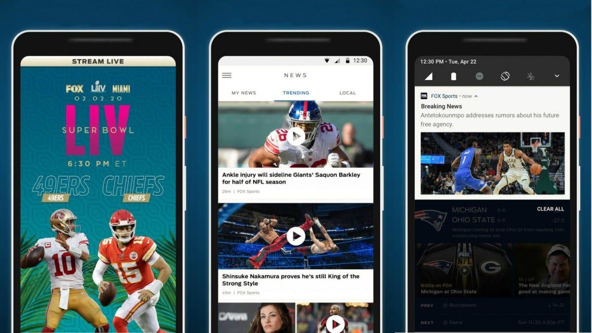 Several screenshots of the Fox Sports app