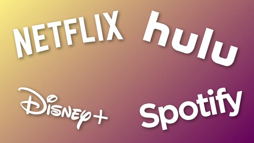 Netflix, Hulu, Disney+, and Spotify logos on multicolored backdrop