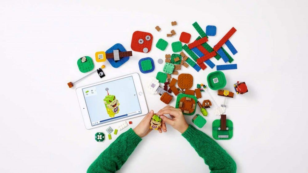 An iPad with instructions for an unfinished LEGO set.