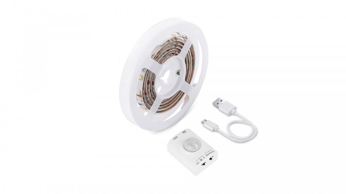 The LUXJET LED Light Strip with USB cord and remote.