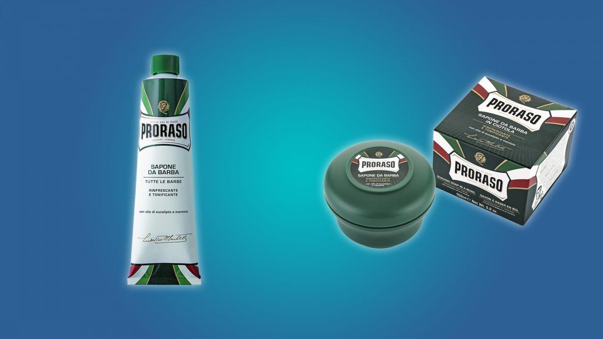 The Proraso shaving cream and shaving soap