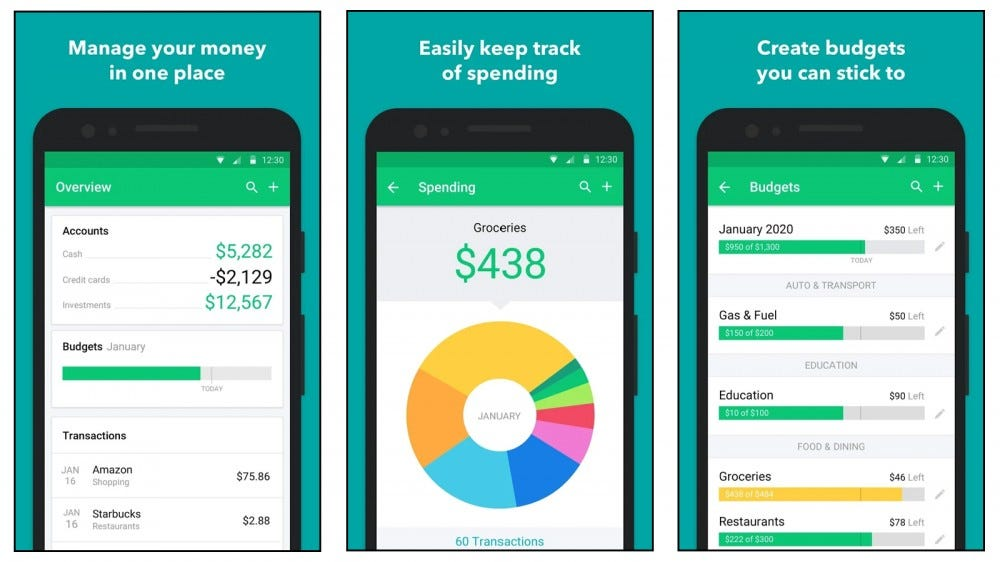 Mint app that helps you budget money and remember to pay bills