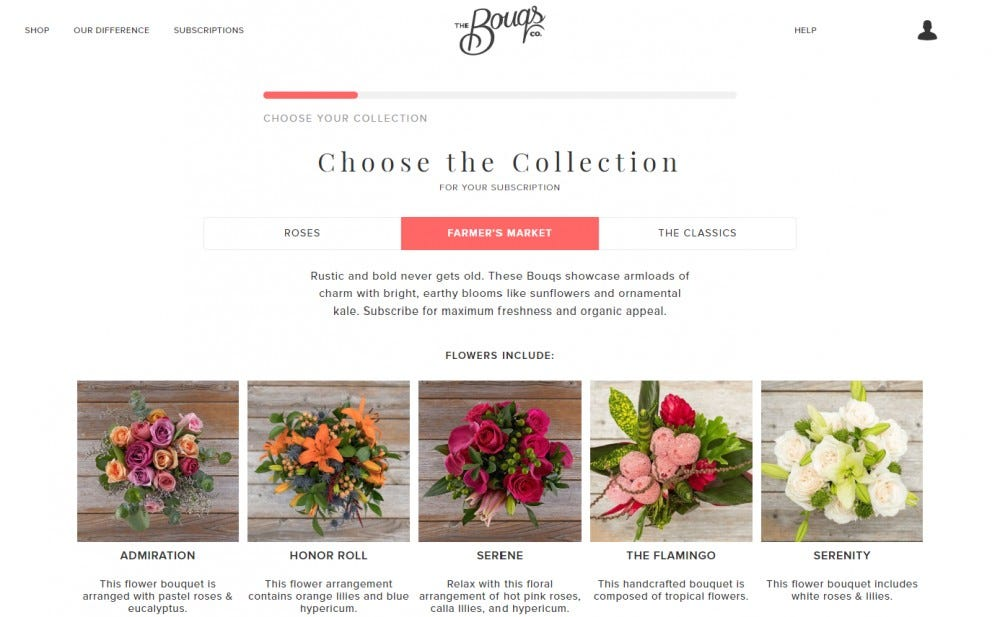 The Bouqs Co monthly flower delivery subscription service roses lilies alstroemerias exotic flowers