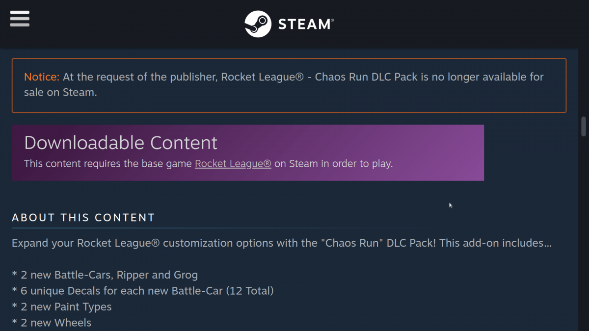 Steam Rocket League DLC Unavailable