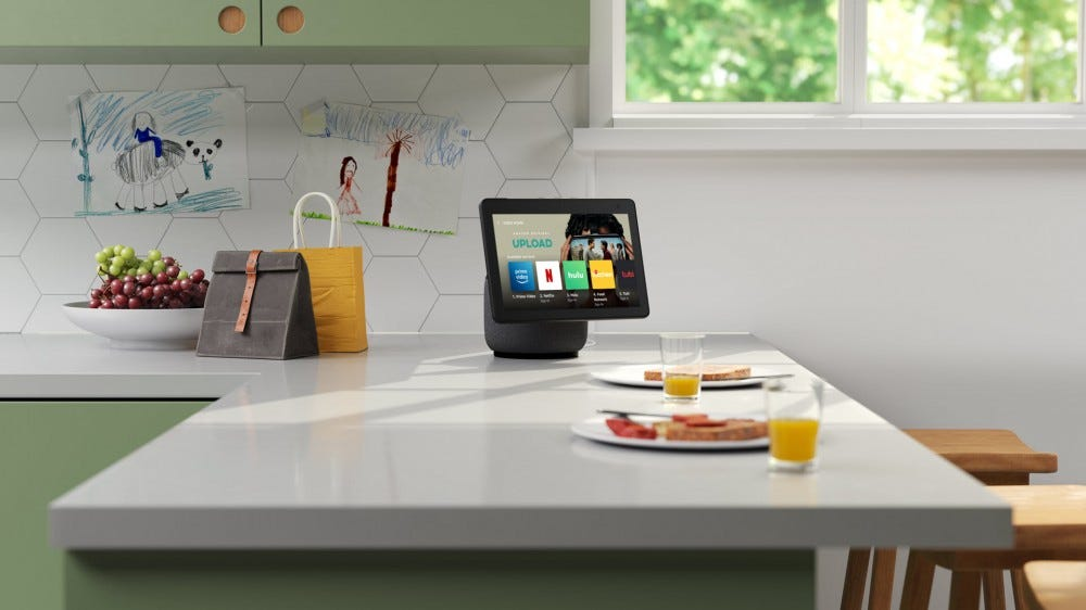 An Echo Show 10 on a kitchen table