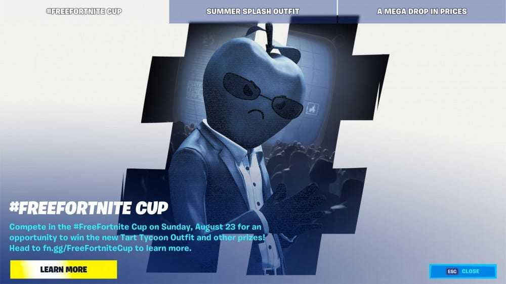 Epic's Free Fortnite tourney promotional screenshot