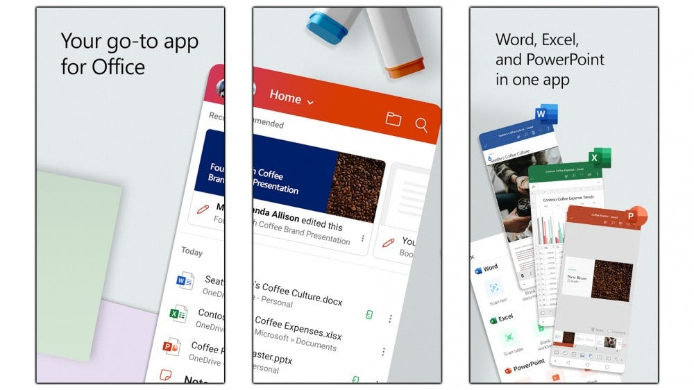 Screenshots of the Office Android app.