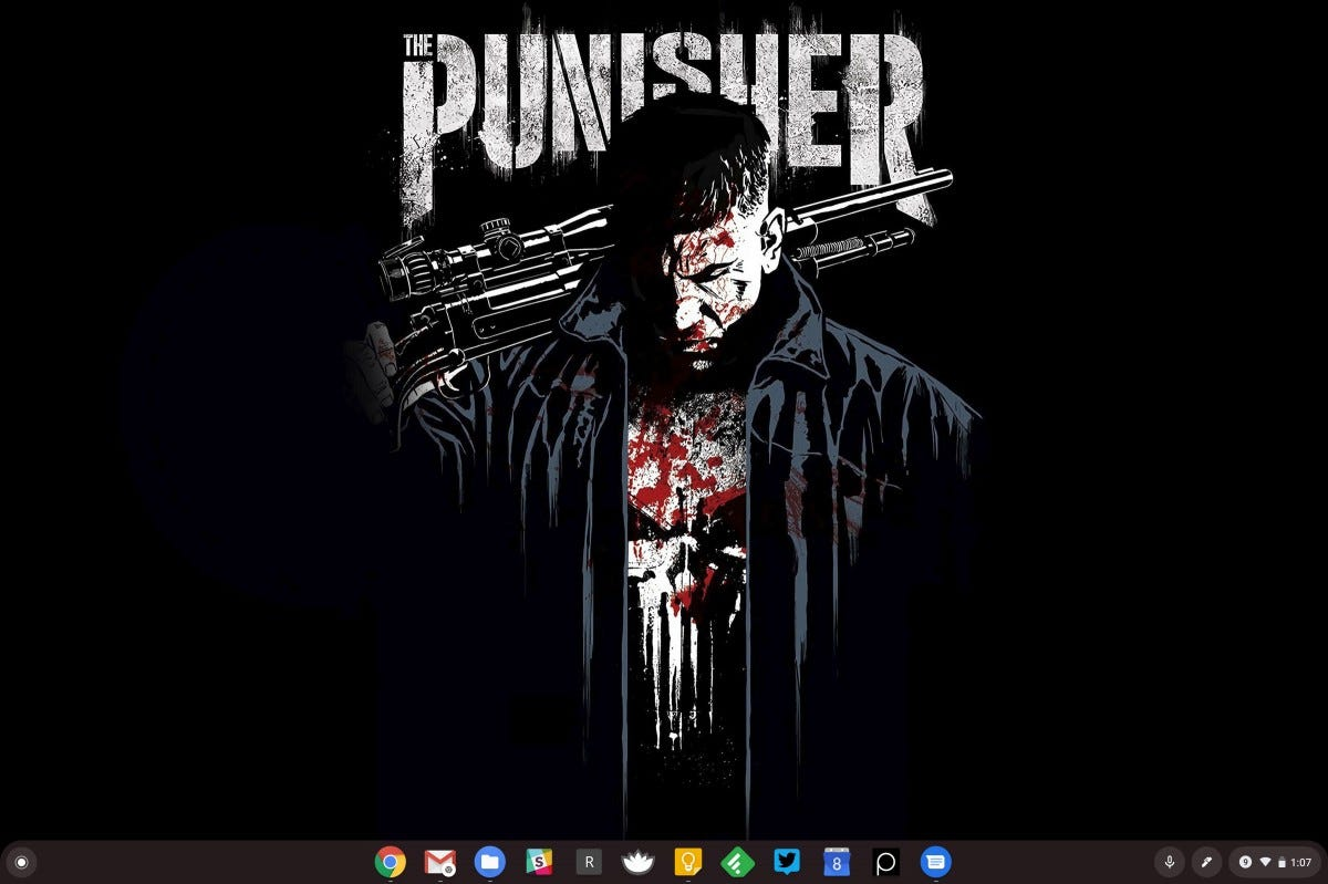 A screenshot of Chrome OS with a Punisher wallpaper