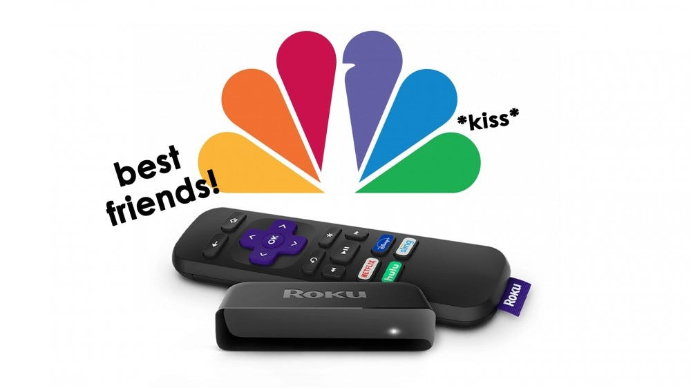 A photo of the Roku and NBC logos.