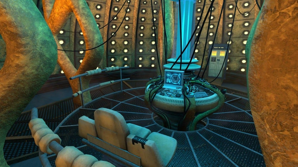 A VR interior of the TARDIS from 'Doctor Who.'