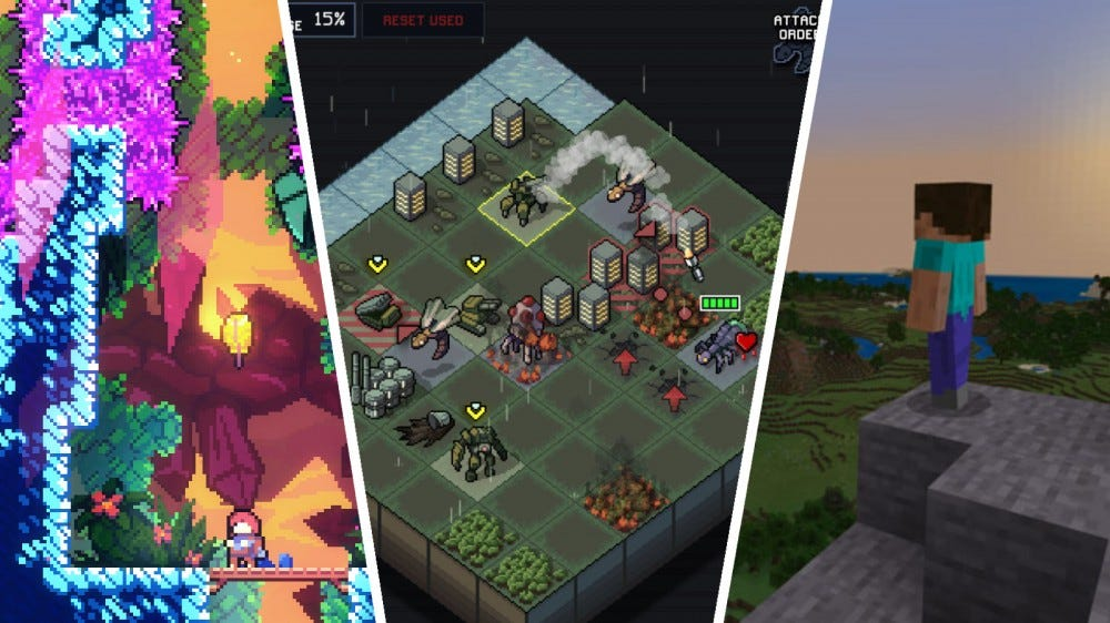 Screenshots of Celeste, Into the Breach, and Minecraft in a collage