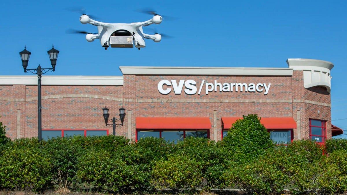 UPS drone flying near CVS