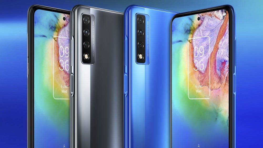 TCL 20 5G okostelefon kék és fekete színben, elöl és hátul