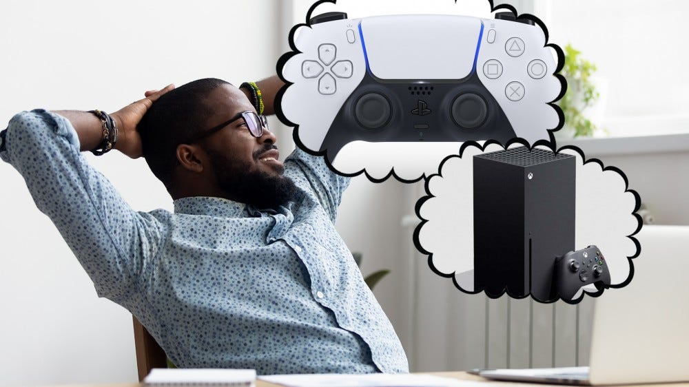 Male adult dreaming of a new gaming console.