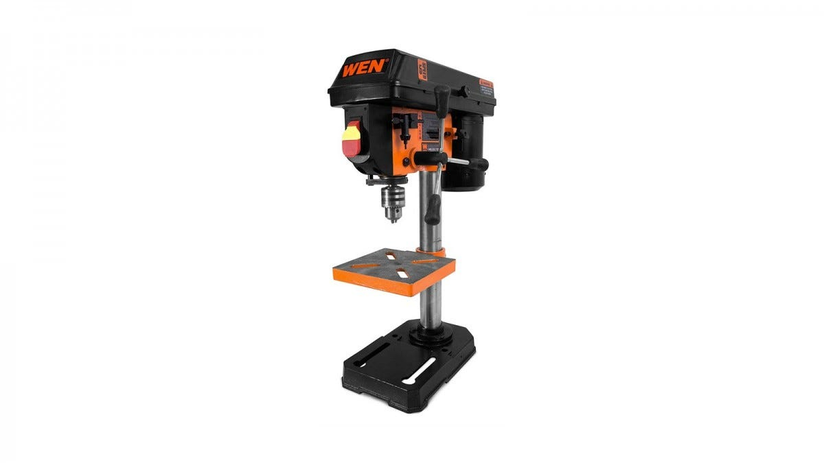 A black and orange WEN 4208 benchtop drill press.