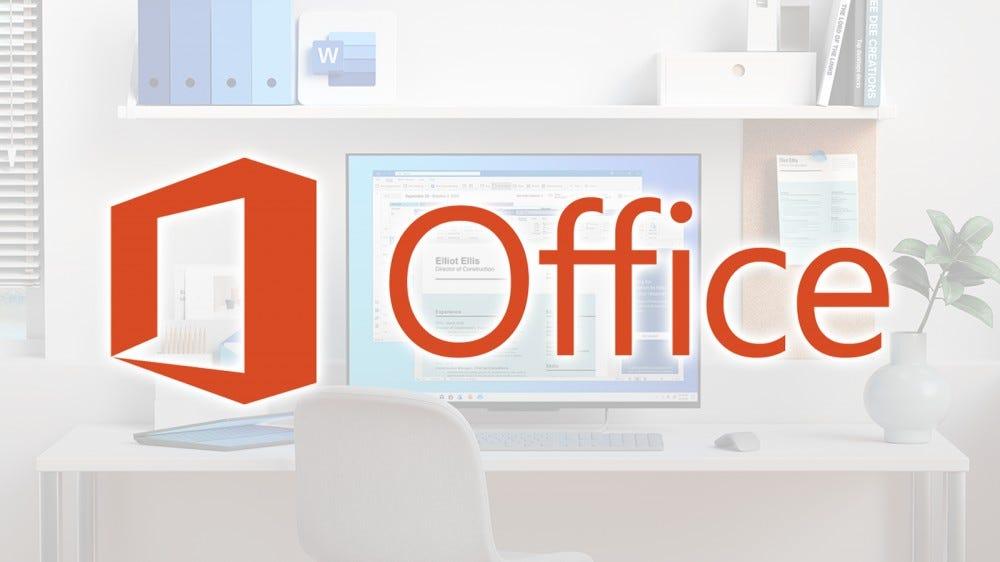 Логотип Microsoft Office над изображением стола.