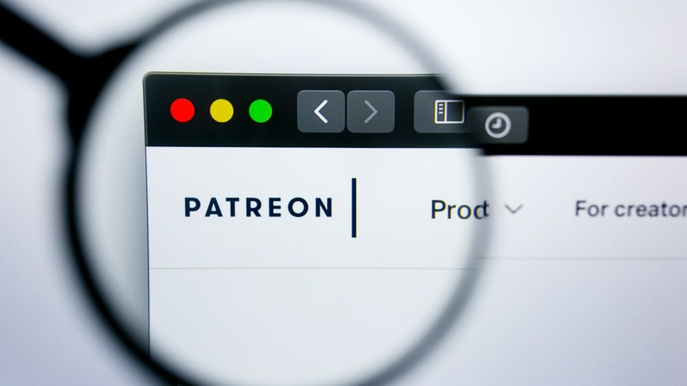 Illustrative editorial of Patreon website homepage