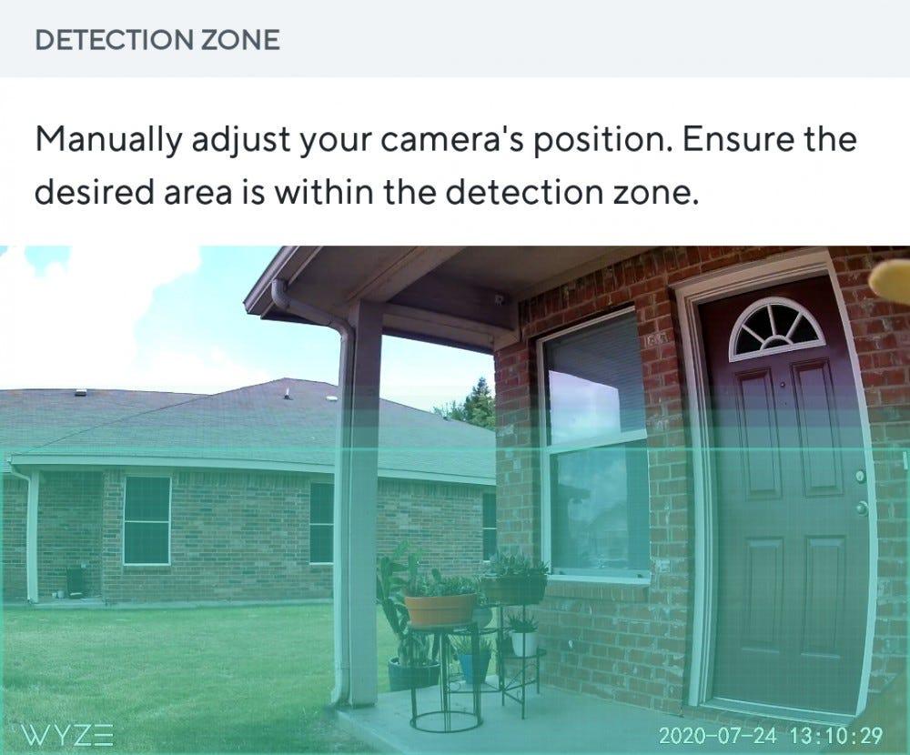 Wyze Cam Outdoor detection zone