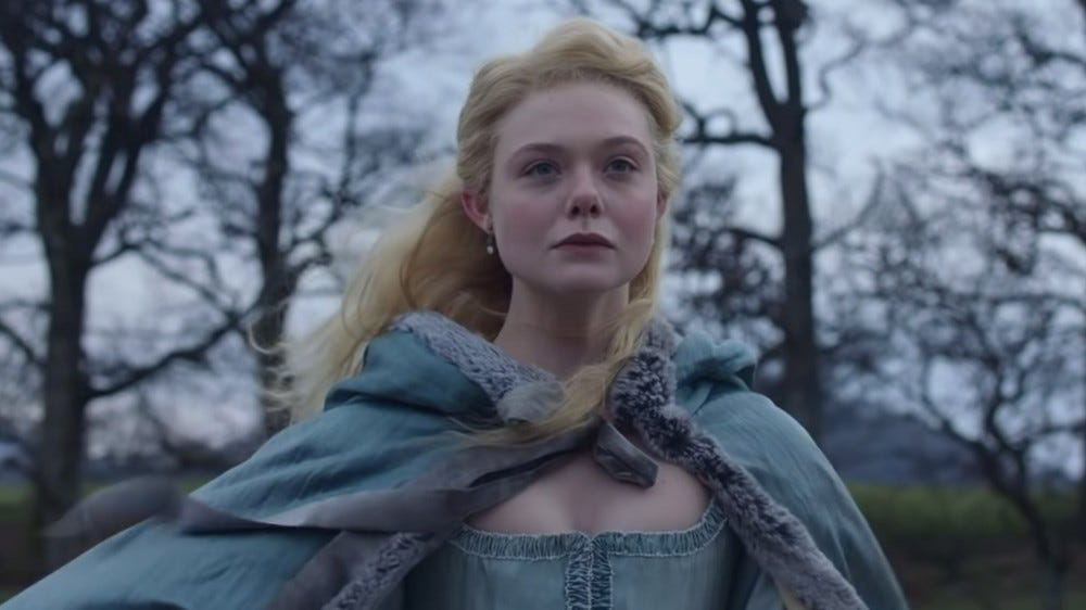 Elle Fanning as Catherine in Hulu's