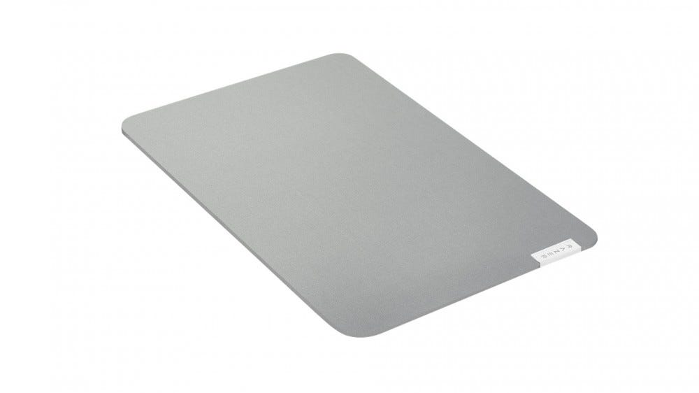 A grey mouse pad.