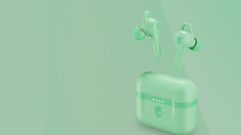Skullcandy Indy Evo in Pure Mint on a mint gradient background