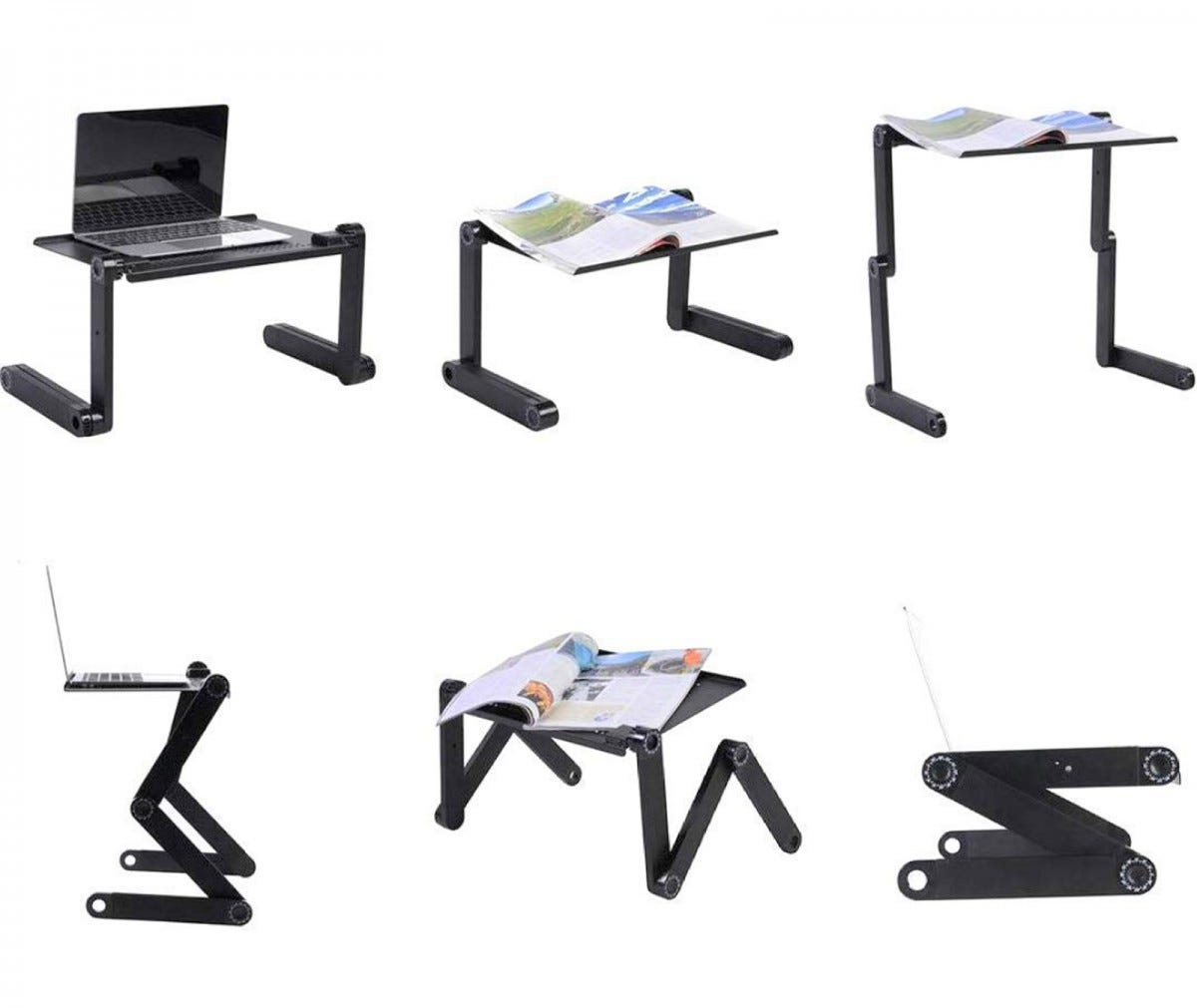 The EXYST Adjustable Laptop Table Stand in six different positions with laptops or magazines on top.