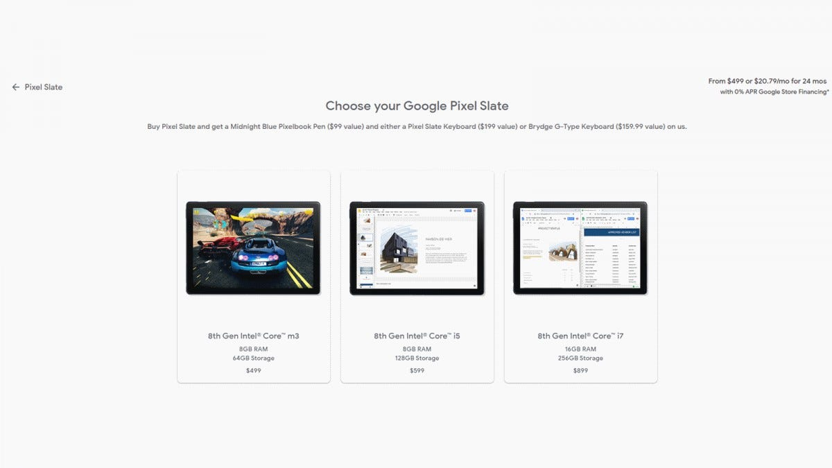 A screenshot of the Pixel Slate prices in the Google Store