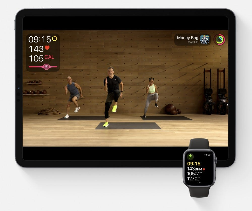 apple watch and ipad on fitness+