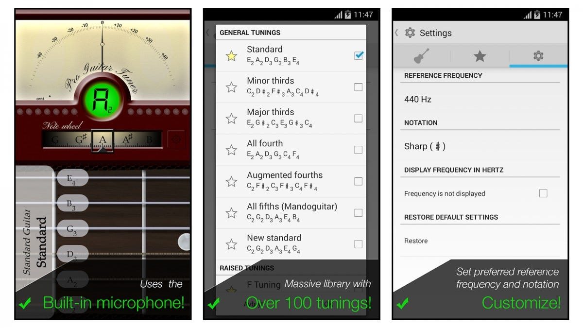 Pro Guitar Tuner app screenshots