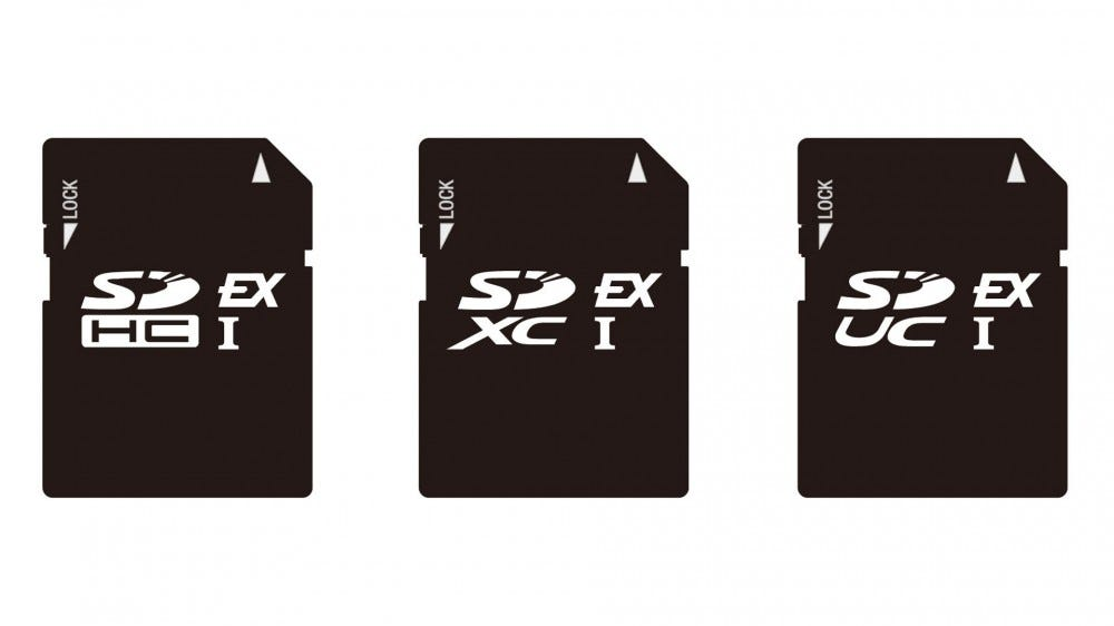 An illustration of the new SD Express cards.