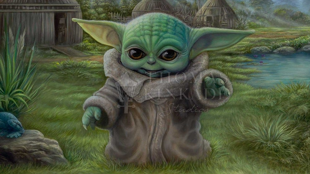 Thomas Kinkade Studios' painting 'Child's Play,' featuring Baby Yoda.